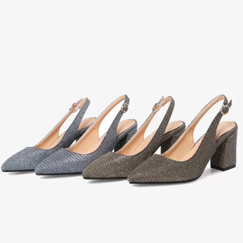 Giày ánh kim tuyến 7 phân hở gót - hàng quảng châu fullbox