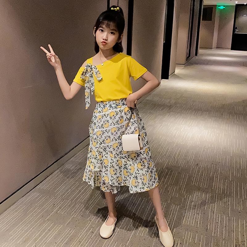 Bộ Áo Thun + Chân Váy Xinh Xắn Theo Phong Cách Hàn Quốc 2020 Dành Cho Bé