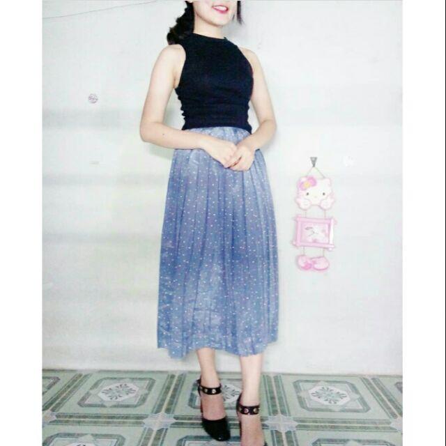 Chân váy dài xanh