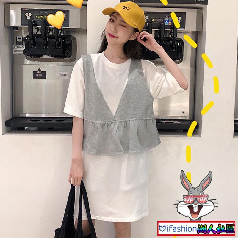 Set áo thun + đầm sát nách phong cách Hàn Quốc trẻ trung dành cho nữ