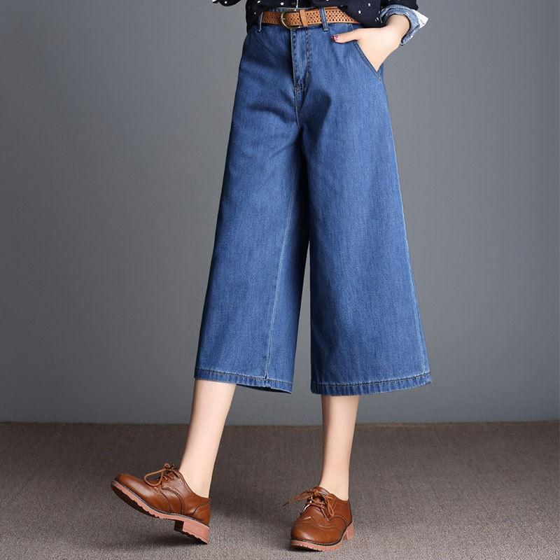 Quần Jeans Lửng Ống Rộng Phong Cách Hàn Quốc 2020 Cho Nữ