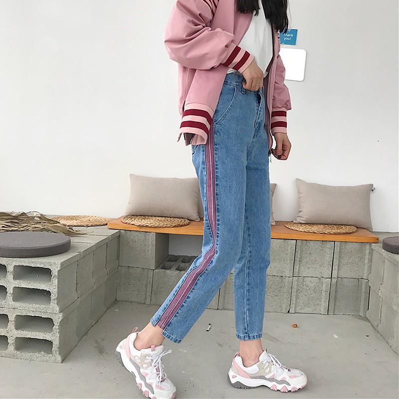Quần jean sọc hồng