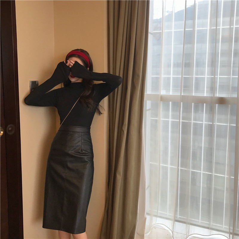 Chân Váy Chữ A Da Pu Lưng Cao Thời Trang 2020 Cho Nữ