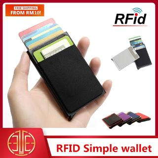 RFID US Ridge Slim Black Carbon Fiber Credit Card Holder Metal Simple W