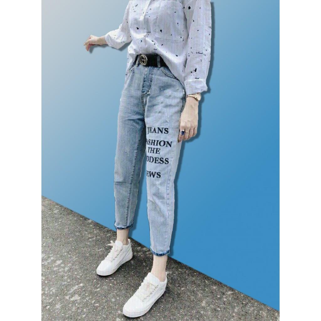 QuầnBaggy Nữ Quần Jean Nữ Baggy QuầnBò Nữ cá tính in chử -của shopthunsi01