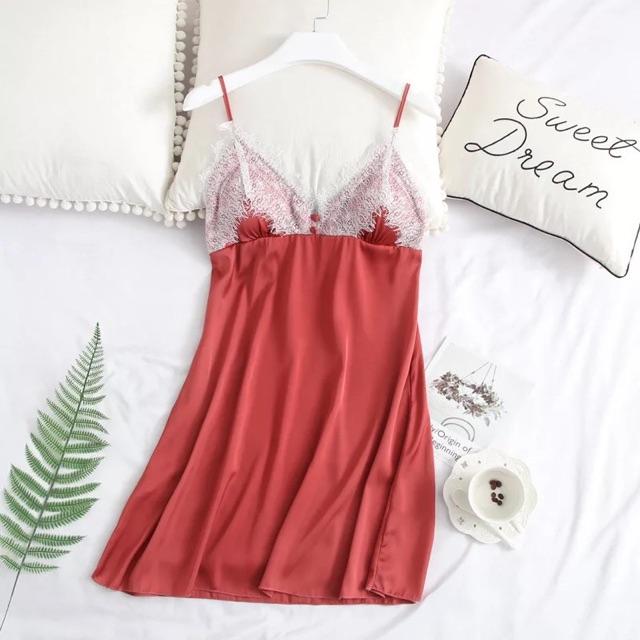 Váy ngủ gợi cảm satin ( ảnh thật cuối) - đầm ngủ sexy phối ren - cô chủ nhỏ chuyên sỉ 149