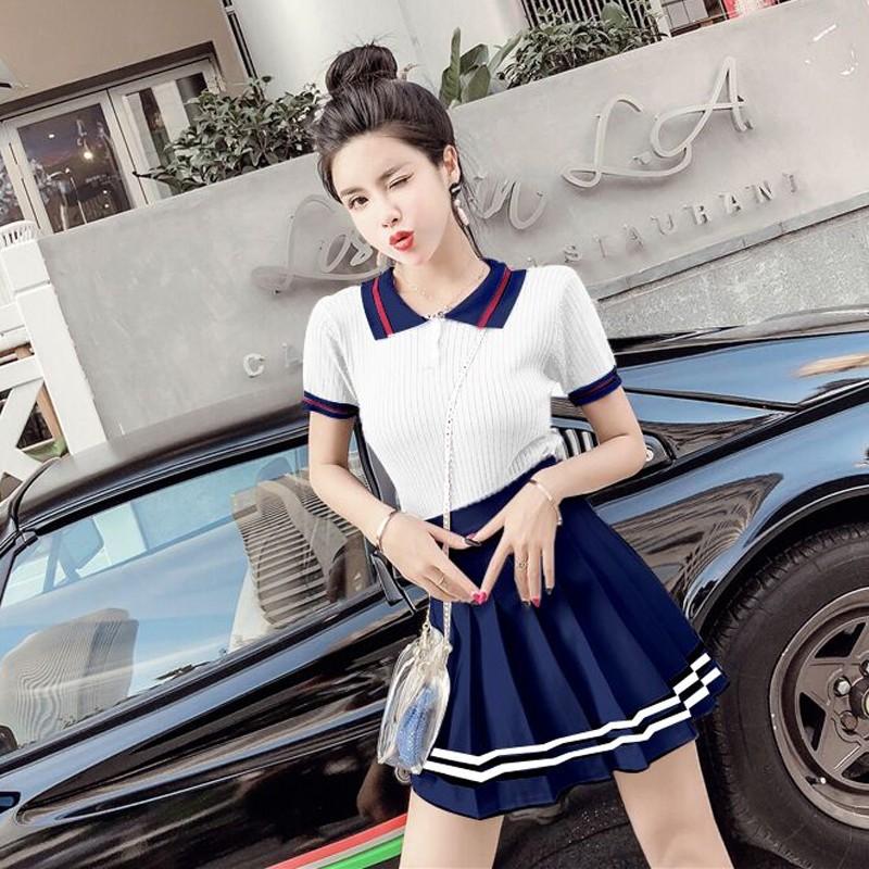 Set Áo Thun Ngắn Tay+Chân Váy Xếp Li Phong Cách Nhật Bản
