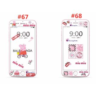 Peppa Pig Cartoon Soft Edge Screen Protector Tempered Glass for iphone 7 8 7plus 8plus 6 6s 6Splus Full Cover