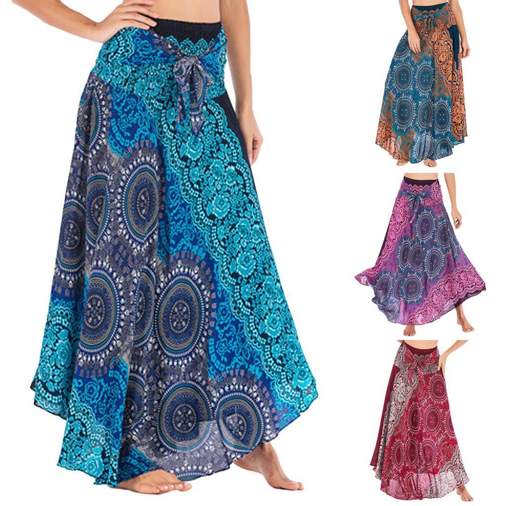 Chân Váy Maxi Hoạ Tiết Hoa Phong Cách Bohomian