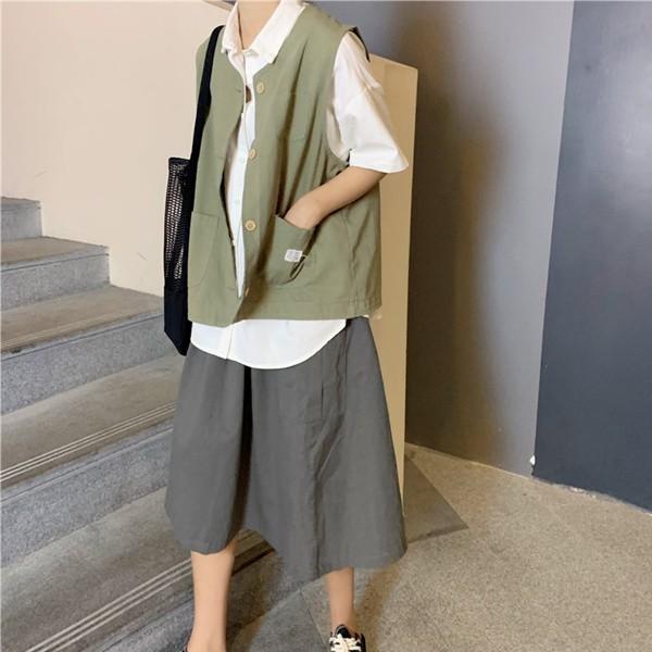 Set áo thun sát nách và chân váy họa tiết ca rô trẻ trung dành cho nữ