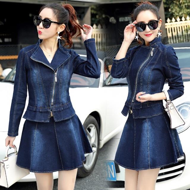 Set jean nữ cao cấp thiết kế chân váy cá tính kết hợp áo jean khóa lệch sang chảnh NP77