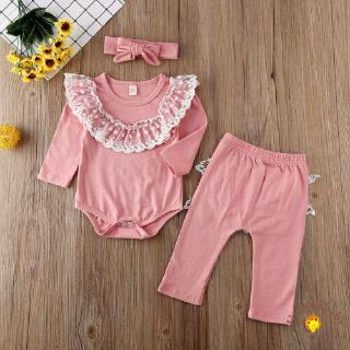 UniNewborn Baby Girl Cotton Clothes Lace Ruffle Romper Bodysuit Tops Pink Pants Leggings Outfit Set