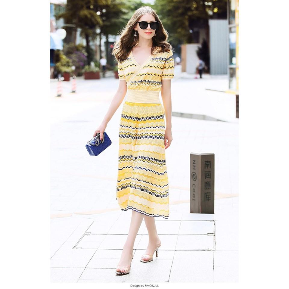 Hàng nhập - Set đầm len sọc vàng (áo + chân váy) siêu sang - ST1452330
