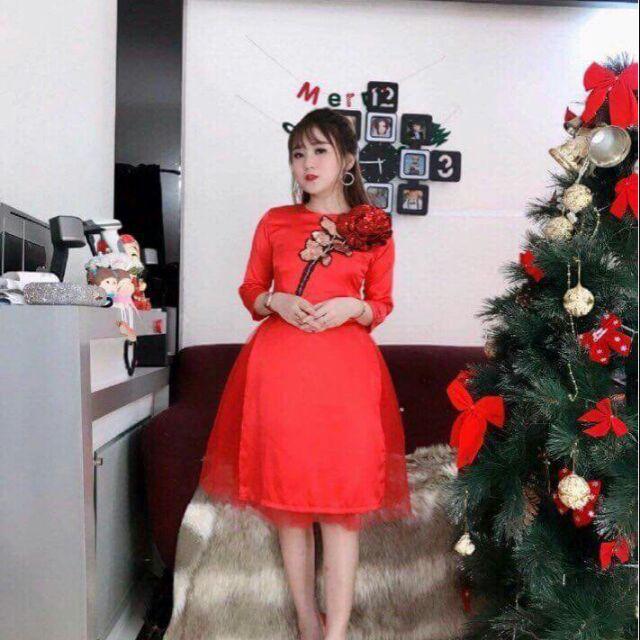 Áo dài cách tân chất vải cát hàn đính hoa hồng kim sa rực rỡ váy rời 100% như hình