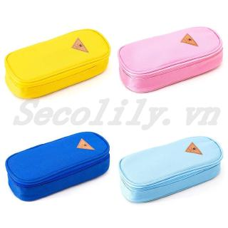 Hình ảnh Simple Candy Color Large Capacity Pencil Case Zipper School Stationery Bag