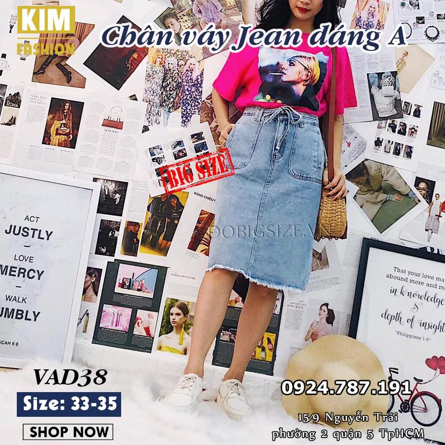 Chân váy Jean dáng A bigsize VAD38 size 33-35