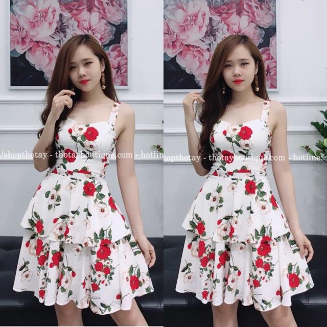 Đầm cúp hoa đỏ xinh iu