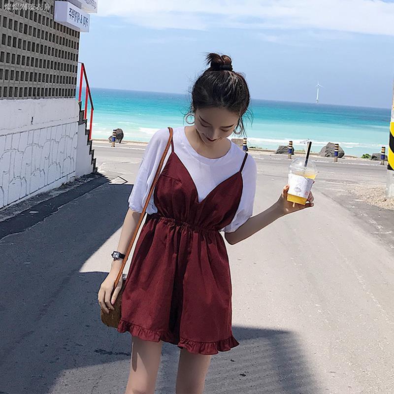 Set Áo Thun Ngắn Tay + Chân Váy Dài Xinh Xắn Thời Trang Kiểu Pháp Dành Cho Nữ