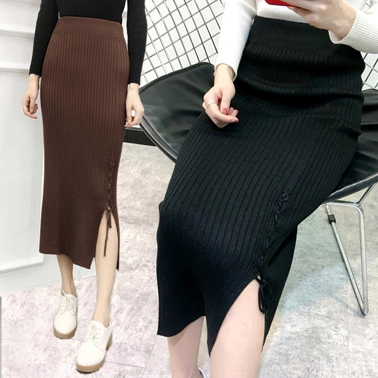 Chân Váy Dài Xẻ Tà Phối Dây Thắt Nhiều Màu Sắc Phong Cách Hàn Quốc