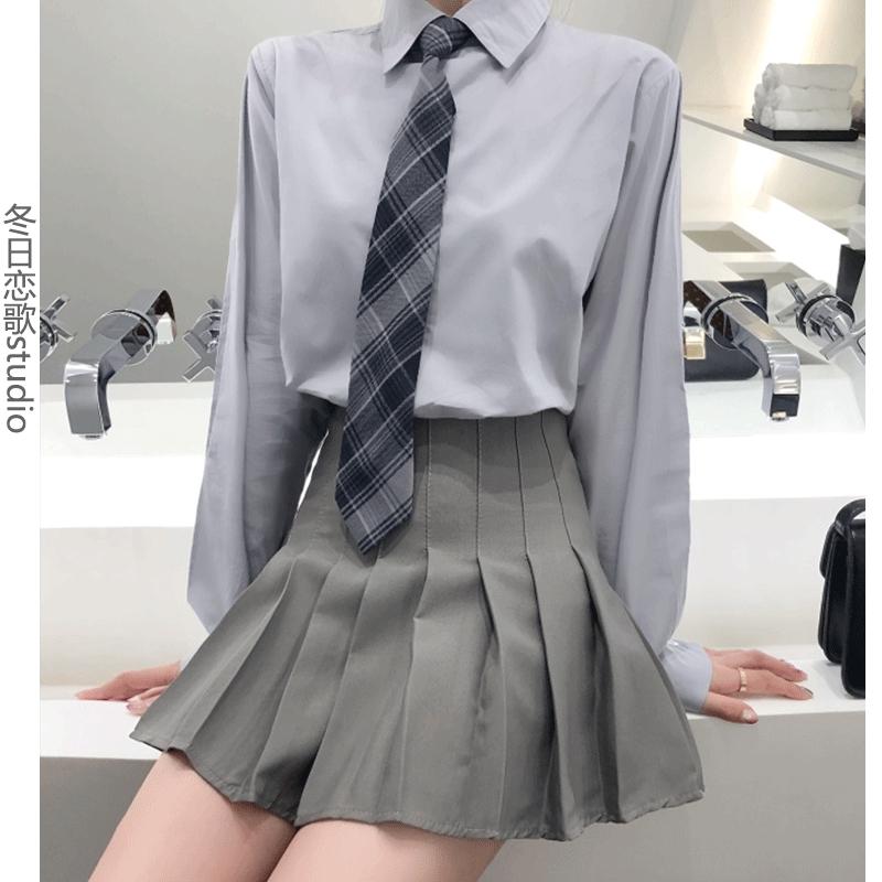 Chân Váy Xếp Ly Màu Xám Thời Trang Cho Nữ