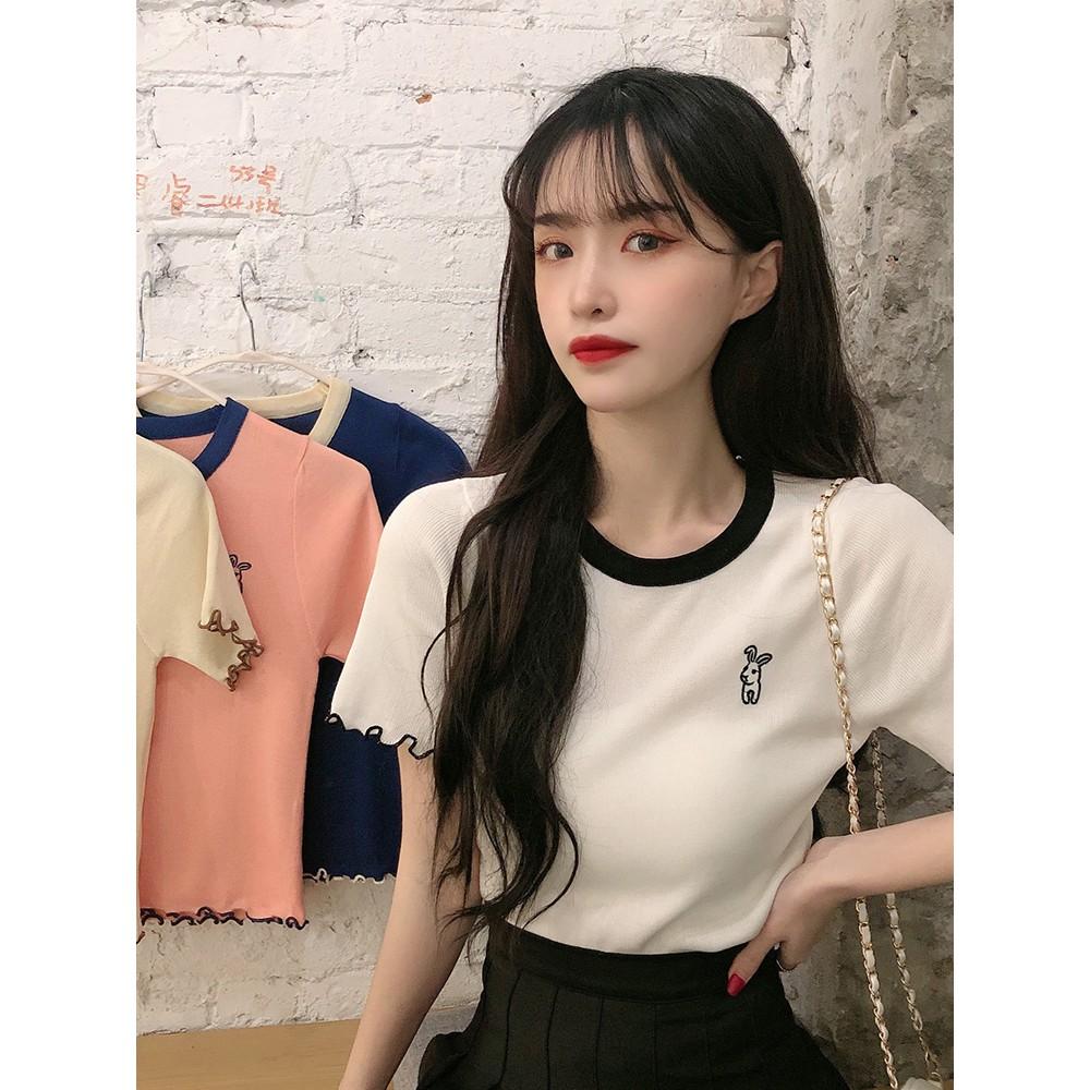 Mùa hè 2020 phiên bản Hàn Quốc mới của áo thun ngắn tay kiểu nước ngoài nhỏ nữ sang trọng