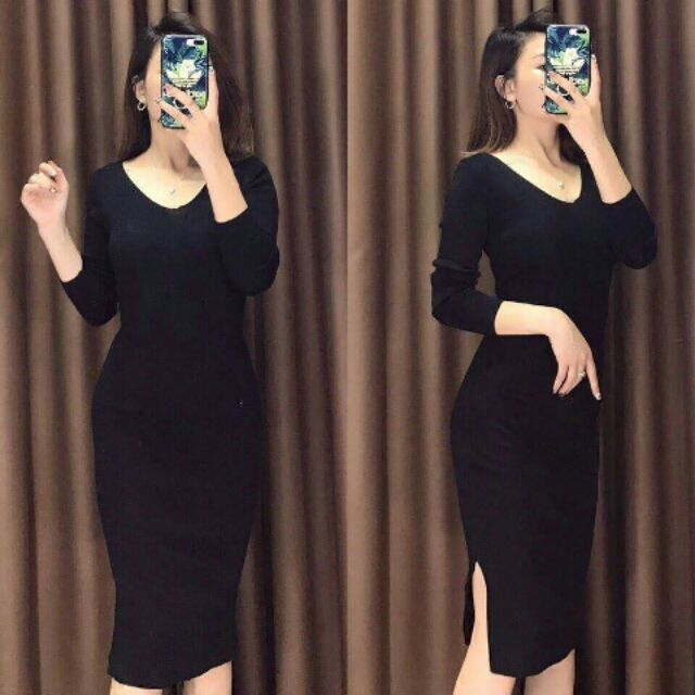 Váy len body