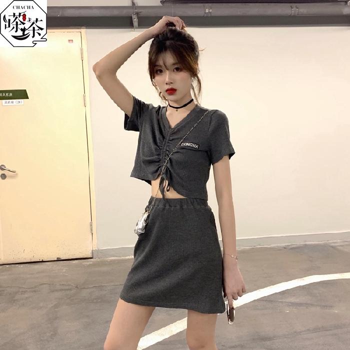 Set Áo Thun Tay Ngắn Phối Dây Rút + Chân Váy Lưng Cao Phong Cách Hàn Quốc