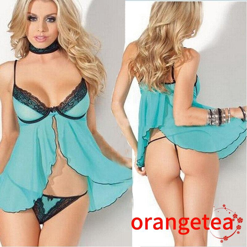 Bộ đầm 2 dây phối ren mặc ngủ + quần lót G-String quyến rũ cá tính cho nữ