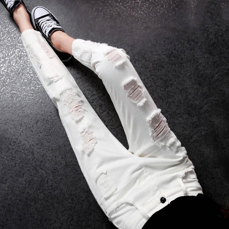 (đang Bán) Quần Jeans Nữ Màu Trắng Rách Gối