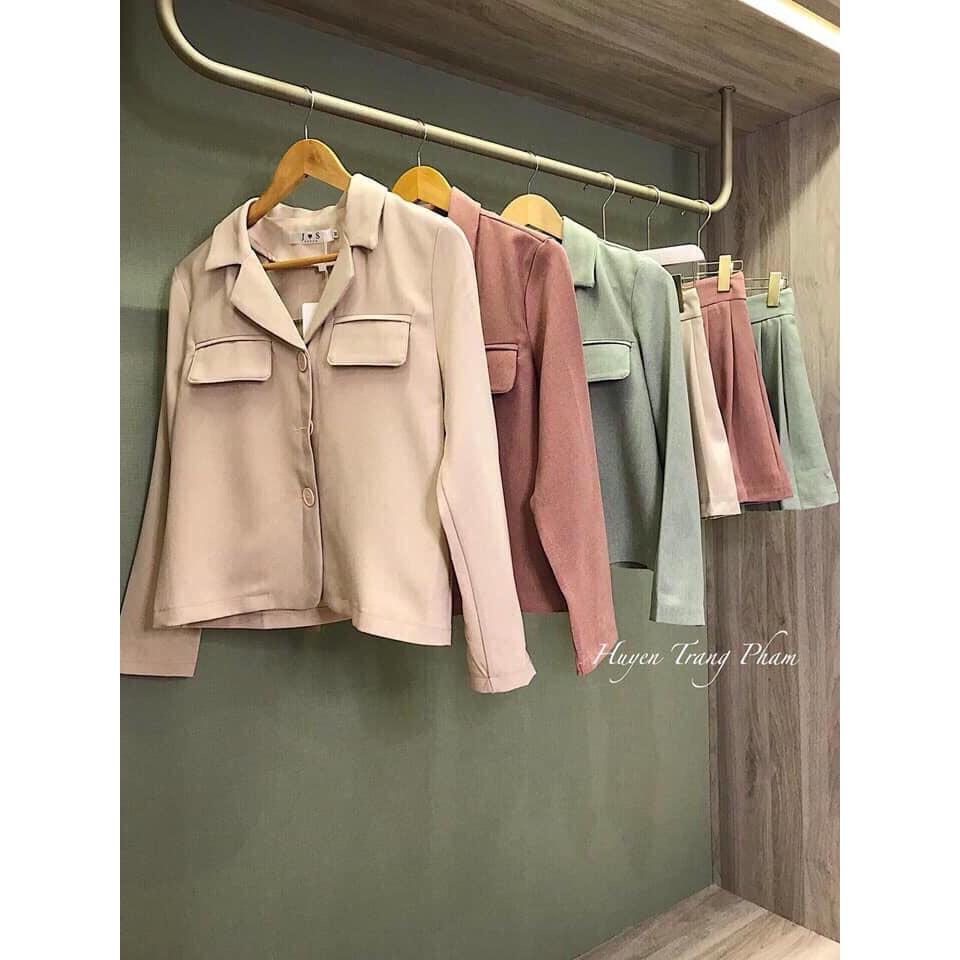 Bộ áo vest + chân váy xếp ly về 3 màu