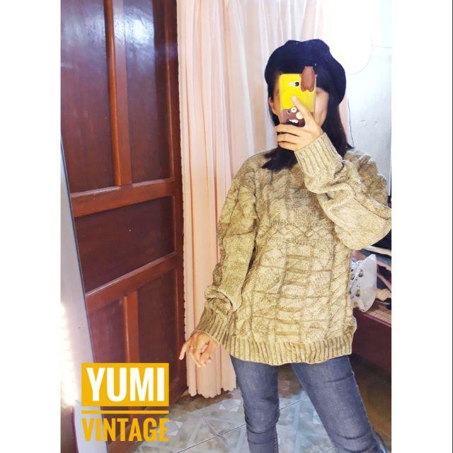 Áo len họa tiết nổi vintage Nhật