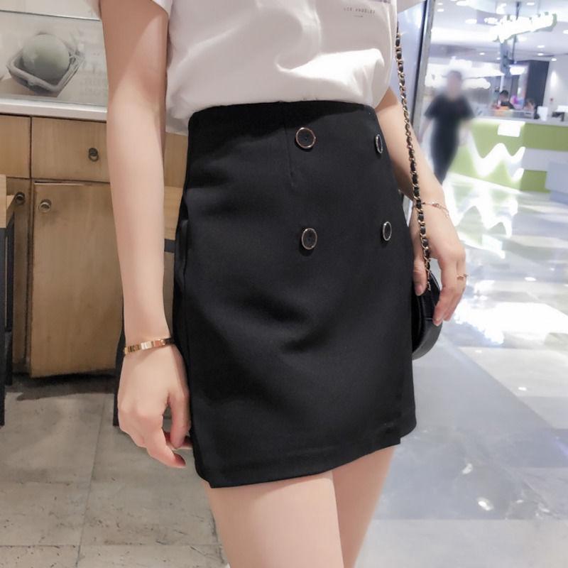 Chân Váy Mini Lưng Cao Phối Hai Hàng Nút Thời Trang Cho Nữ