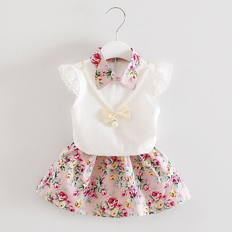 Set Áo Thun Tay Ngắn + Chân Váy Hoa Xinh Xắn Cho Bé Gái 0-1 - 2-3 - 4 Tuổi