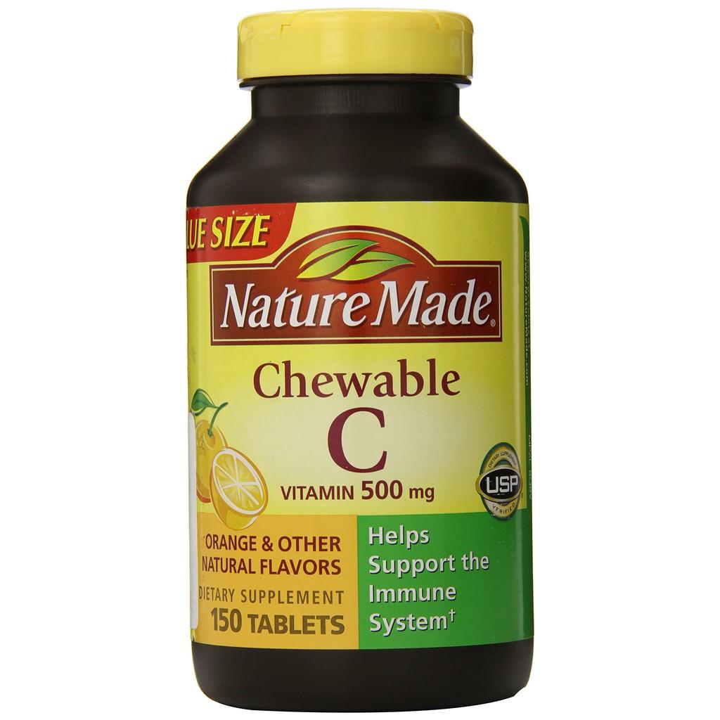 [BILL MỸ]Lọ 150 viên nhai vitamin C Nature Made Vitamin C 500 mg