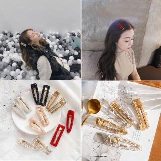 Hình ảnh Tin foil hairpins hollow geometric acrylic bangs Hair Clips