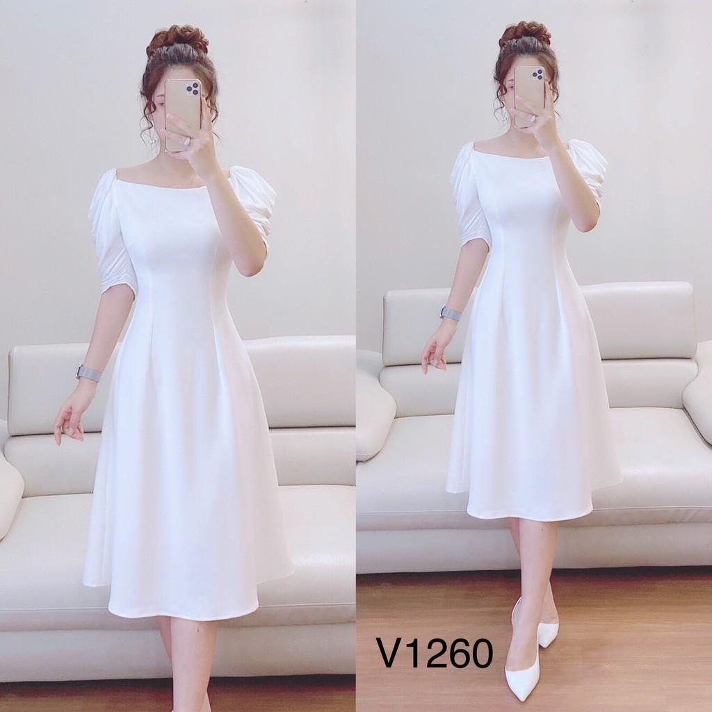 Váy đầm dự tiệc thiết kế trắng cổ oval cao cấp DVC V1260 (trên tay Video + Ảnh thật)