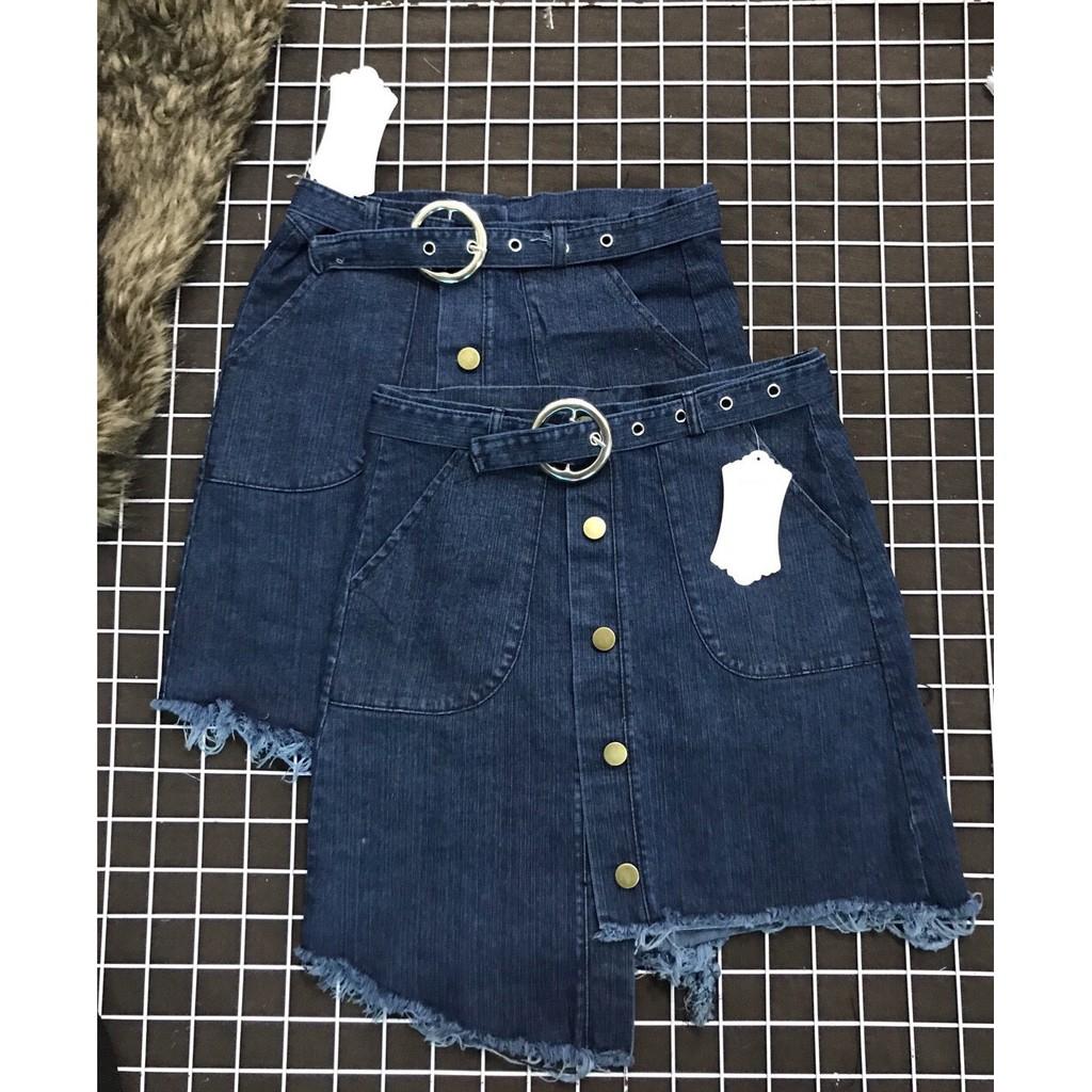 [Mã WAPUSH giảm 15% đơn 50K] Chân váy jean kèm nịt phối hàng nút lệch tà dễ thương