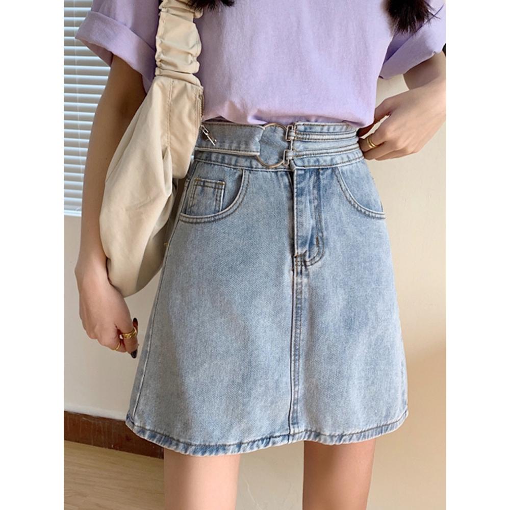 Chân Váy Jeans Lưng Cao Phong Cách Retro Thời Trang Cho Nữ