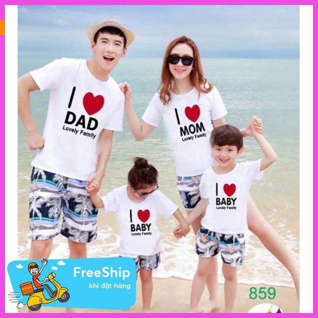 [ Giảm 50% ] Gia đình i love baby trang thời trang mùa hè,áo thun in đẹp,áo thun nam phong cách