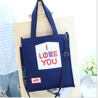 Túi tote - I LOVE YOU - Xanh Than