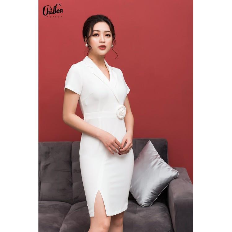 Chiffon - Váy body hoa eo _ trắng