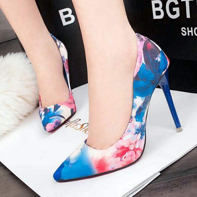 (ORDER) Giày cao gót họa tiết hoa 3D 10 cm, hàng cao cấp