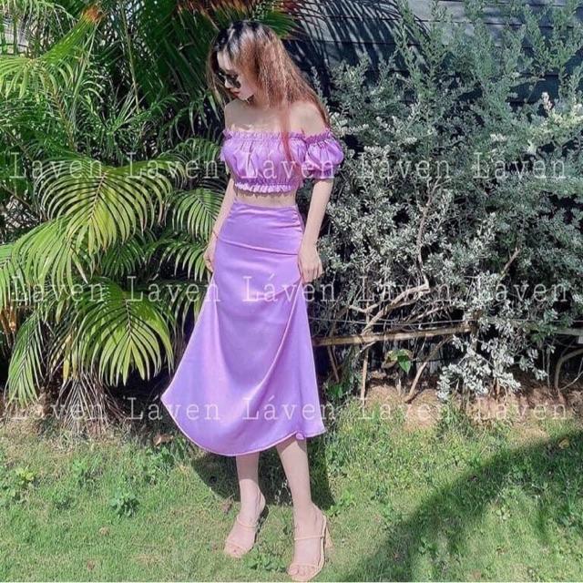 ☀️ Set lụa: áo croptop nhúng thun + chân váy dáng dài