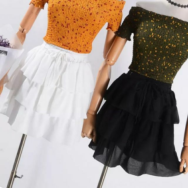 LHS15138 Chân váy thiết kế nhiều tầng kèm dây thắt nơ