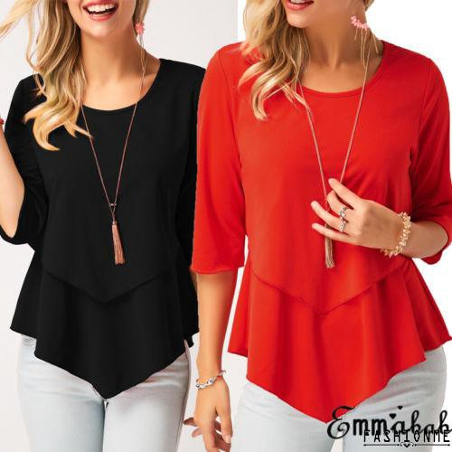 ღ𝓂ℰFashion Lady Women Summer Casual Round Neck Shirt Tops 3/4 Sleeve Loose Blouse