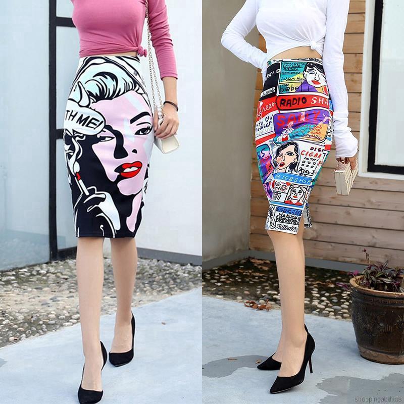 Chân váy mini in họa tiết hoạt hình quyến rũ hợp thời trang cho nữ