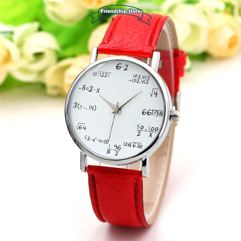Đồng hồ công thức toán học dây da thời trang cho nữ