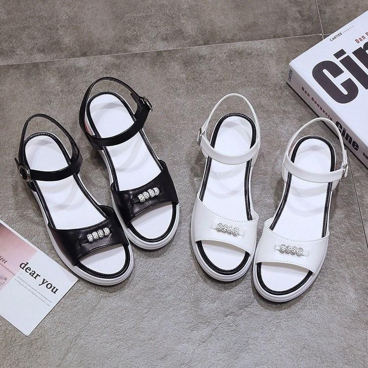 Giày Sandal Nữ Đế Xuồng Đính Đá Kiểu Dáng Hàn Quốc
