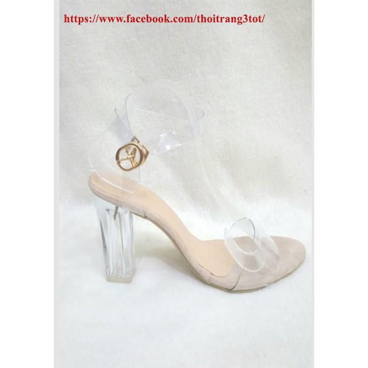 Sandal cao gót vuông quai trong 9cm
