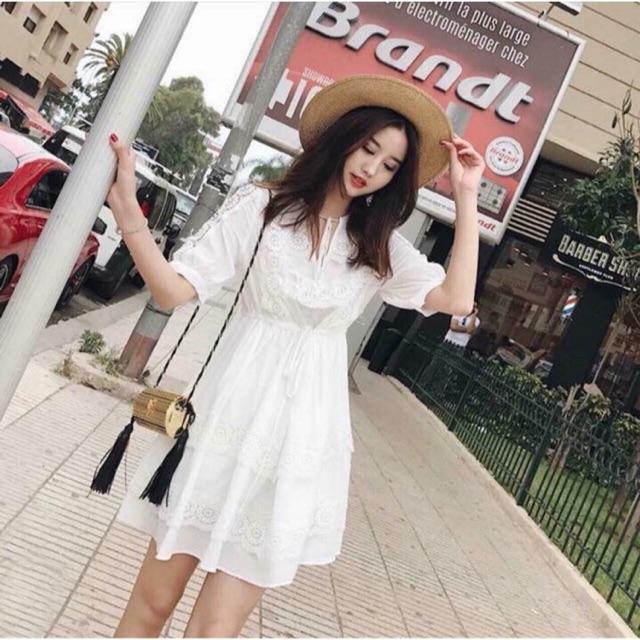 Đầm dự tiệc xô phối ren siêu xinh, đầm trắng xòe thanh lịch